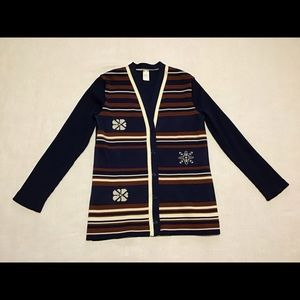 Blue n rust 70s vintage polyester retro cardigan